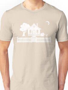 Cottage w/ Picket Fence (White design w/ moon) Unisex T-Shirt