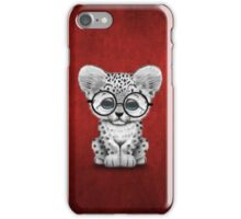 Cute Snow Leopard Cub Wearing Glasses on Red iPhone Case/Skin
