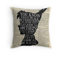 Peter Pan Vintage Dictionary Page Style -- That Place Throw Pillow