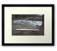frosty bench, Deschutes River , Oregon , United States of America   Framed Print