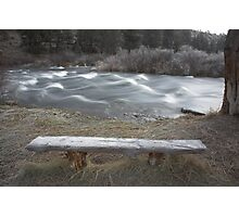 frosty bench, Deschutes River , Oregon , United States of America   Photographic Print