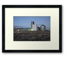 grain silos and starlight, California , United States of America Framed Print