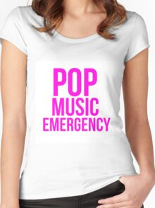 POP MUSIC EMERGENCY Women's Fitted Scoop T-Shirt