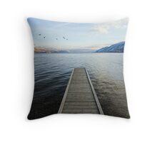 ducks and pier, Okanagan Lake, British Columbia Throw Pillow