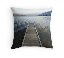 pier, Okanagan Lake, British Columbia Throw Pillow