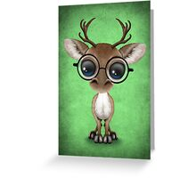 Cute Curious Nerdy Reindeer Wearing Glasses Green Greeting Card