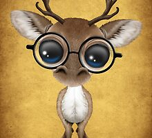 Cute Curious Nerdy Reindeer Wearing Glasses on Yellow by Jeff Bartels