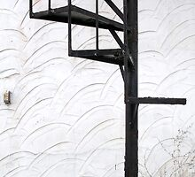 Circular Stairway Old Stucco Wall by M Sylvia Chaume