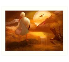 A Stork's Precious Load Art Print