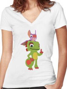 Yooka Laylee Vector Women's Fitted V-Neck T-Shirt
