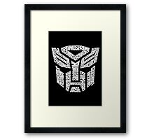 Transformer Autobots White Framed Print