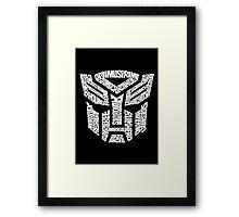 Transformer Autobots White Framed Print