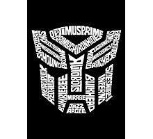 Transformer Autobots White Photographic Print