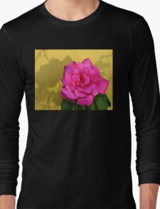 Pink Rose On Yellow Long Sleeve T-Shirt