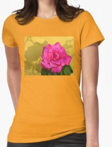 Pink Rose On Yellow T-Shirt