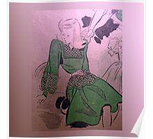 neonflash vintage fabrics girl dress Poster