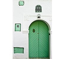 Green Door, White Wall Photographic Print