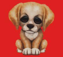 Cute Golden Retriever Puppy Dog on Pink One Piece - Short Sleeve