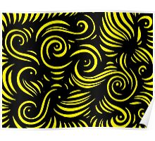 Luisi Abstract Expression Yellow Black Poster