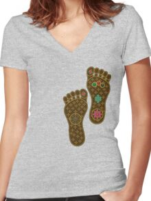 Footprints of the Buddha Women's Fitted V-Neck T-Shirt