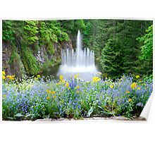 Ross Fountain in Butchart Gardens Poster
