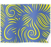 Vilar Abstract Expression Yellow Blue Poster