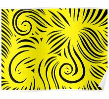 Lourentzos Abstract Expression Yellow Black Poster