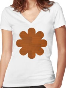 Wood Grain Pattern Women's Fitted V-Neck T-Shirt