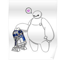 Baymax and R2D2 Star Wars Poster