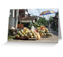 Fruit and vegetables stand Greeting Card