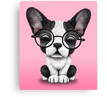 Cute French Bulldog Puppy with Glasses on Pink Canvas Print
