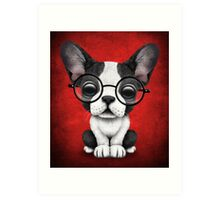 Cute French Bulldog Puppy with Glasses on Deep Red Art Print