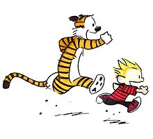 Calvin and Hobbes Running Man by mikelpegel