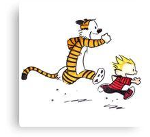 Calvin and Hobbes Running Man Canvas Print