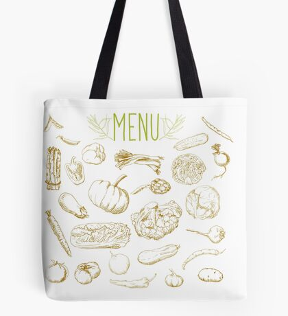 set of hand-painted vegetables Tote Bag