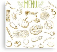 set of hand-painted vegetables Canvas Print