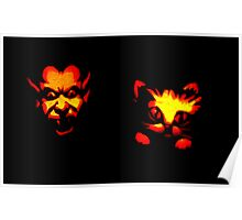 Jack-O-Lantern: Devil Scaring a Black Kitty Cat Poster