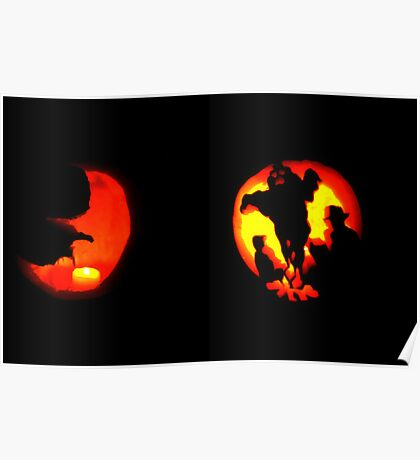 Jack-O-Lantern: Crescent Moon Shines on Ghostly Campsite Poster