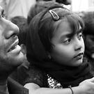 Girl and Father Hyderabad India by Andrew  Makowiecki