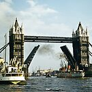 Tower Bridge London raised to allow boat to go through 1957 by Fred Mitchell