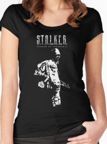 Stalker SOC White Women's Fitted Scoop T-Shirt