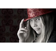 Girl in a Pink Hat Photographic Print