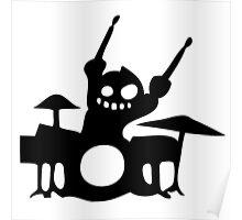 drum cartoon  drummer music batteur batterie Poster