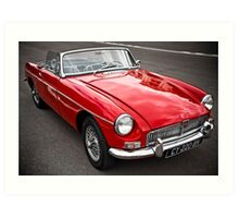 Red convertible MG classic car Art Print