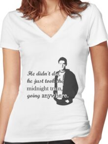 "Cory Monteith ""He didn't die"" Women's Fitted V-Neck T-Shirt"