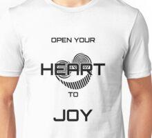 Open Your Heart to Joy (Black text) Unisex T-Shirt