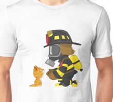 Firefighter rescues kitten Unisex T-Shirt