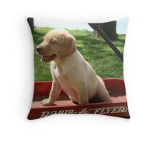 Lab in Little Radio Flyer Wagon Throw Pillow