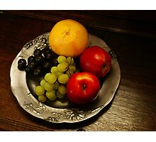 Pewter and Fruit Photographic Print