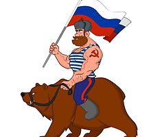 Russian riding a bear. by Evgenii Sidorov